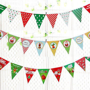 Christmas Decoration Xmas Party Hanging Flag Cartoon Bunting Garland Snowflack Banner Letters Pennant