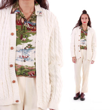 Ivory Cable Knit Cardigan Sweater 70s 80s Vintage Fisherman Jumper Preppy Hipster Clothing Womens Size Small