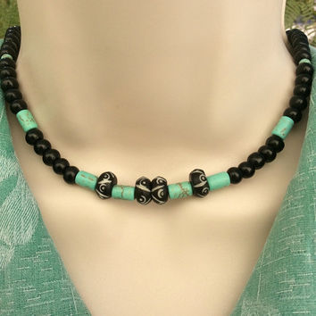 Men's Gemstone Necklace, Magnesite Necklace, Gemstone Jewelry, Healing Necklace, Unisex, Tribal Necklace, Gift for him, Bohemian necklace