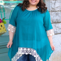 Swept Away Tunic in Teal {Curvy}