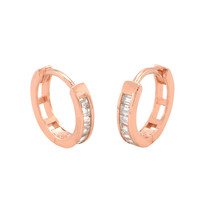 Sterling Silver Hoops Rose Gold Plated Huggie Earrings Cubic Zirconia 12mm x 3mm