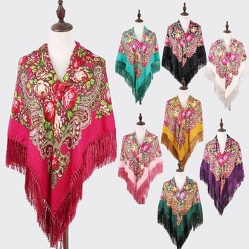 Hot Sale Women Russian Flower Printing Square Scarf Shawl Long Tassel Oversized Floral Bandana Wrap Cape Stole 135*135CM