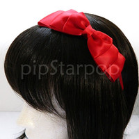 Red Satin Hair Bow  Snow White Fairy tale princess by PipStarPop