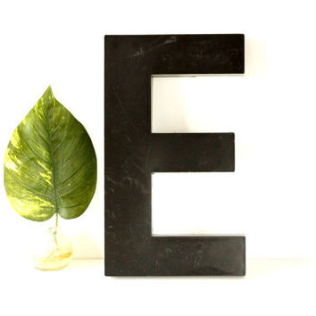"Vintage Industrial Letter E Sign Letter in Black Heavy Plastic (12"" tall) N2 - Industrial Home Decor, and more"