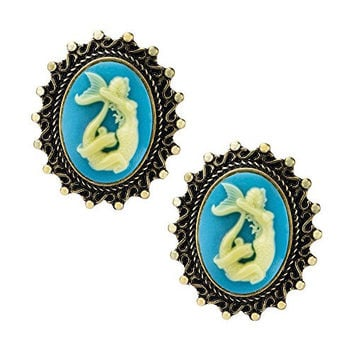Aqua Mermaid Cameo Single Flare Plug 00G Pair