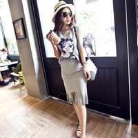Avatar Printed T Tassel Package Hip Thin Suit