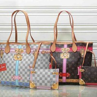 LV Bag Louis Vuitton Women Fashion Print Handbag Bag  Lock Buckle Two Piece Set B-LLBPFSH Coffee/White