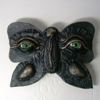 Black and bronze butterfly leather hair barrette with Evil Eye.