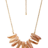 FOREVER 21 Faux Quartz Bib Necklace Pink One