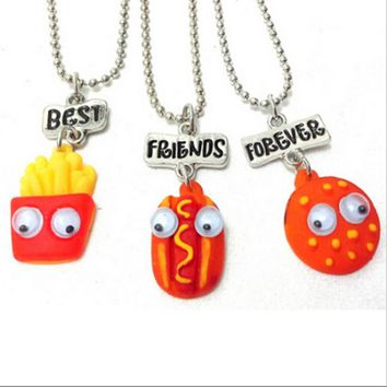 3 Pcs Best Friend Forever BFF Pendant Bead Chain Necklace Fast Food Cute Lovely Chips Hot Dog Hamburger Kids Jewelry Movable Eye
