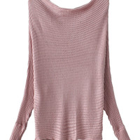 Pink Batwing Sleeve Knit Jumper