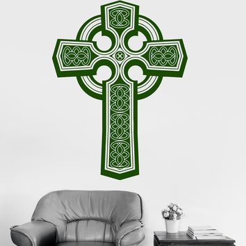 Vinyl Wall Decal Irish Celtic Cross Ireland Druidic Patterns Stickers Unique Gift (078ig)