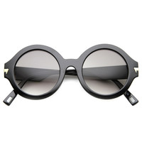 Women's Retro Arrow Accent Round Sunglasses 9861