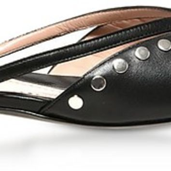 Moschino Black Leather Flat Mules w/Studs