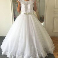 Vintage Floor Length Full Beading Wedding Dress No Train