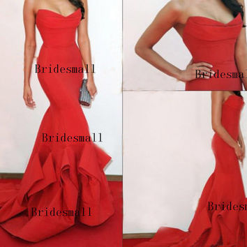 2014 New Gorgeous Elegant Celebrity Dresses Strapless Ruffles Backless Prom Dresses.Mermaid Prom Dresses. Red Prom Dresses.Sexy Prom Dresses