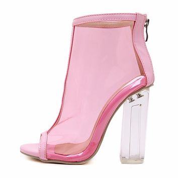 Transparent Pink Clear Booties
