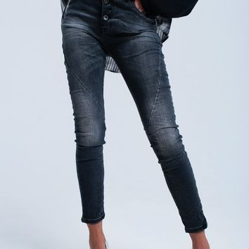 Jeans slim black washed out