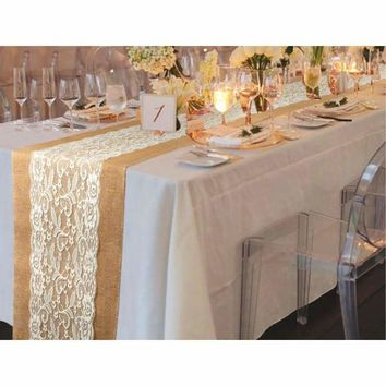 "10pcs Table Runner Natural Burlap Lace Wedding Decoration 42.5"" x 11.75"" High Quality"