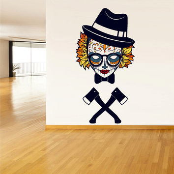 Full Color Wall Decal Mural Sticker Decor Art Beautyfull Cute Sugar Hipster Skull Axe Bedroom Curly modern fashion (col764)