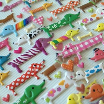 3D colorful dog sticker animal Puffy sticker cute pet dog baby dog seal label deco newborn shower card baby boy kids birthday party tag