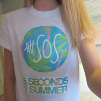 5SOS Five Seconds Of Summer Logo Circle Tropical by CandyShopGifts
