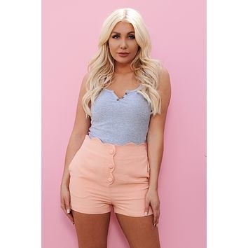 Archie Button Up Crop Top (Heather Grey)