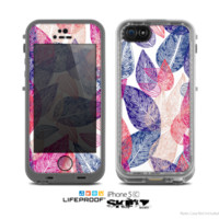 iPhone 5c skins for lifeproof cases pink and blue leaves