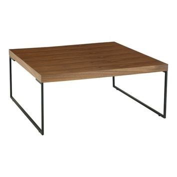 Modern Scandinavian Walnut Myron Square Coffee Table with Black Powder Coated Metal Legs