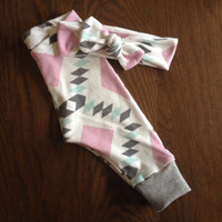 Lilac and Grey Diamonds Legging and Top Knot Headband Set in Organic Cotton for Babies and Kids
