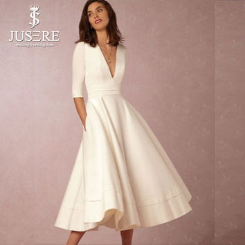 Jusere 2017 V neck A line Pleat Light Champagne Over Knee length 1/2 Sleeves Cocktail Dresses Crepe Short Prom Dress Box Pleat
