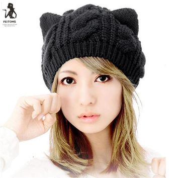 2017 Hot Sale Beanies Knit Winter Hats For Women Beanie Cute Cat Ears Autumn Hat Caps Bonnet Warm Cap Female #712
