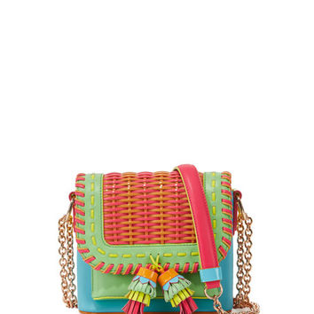 Sophia Webster Claudie Colorblock Tassel Crossbody Bag, Aqua
