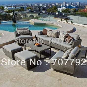 8 Piece Deep Seating Wicker sofa Set in Weathered Grey