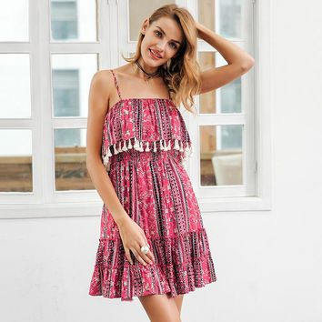 8DESS Ruffle tassel strap summer dress women Backless ethnic print mini dress Casual vestidos short dress