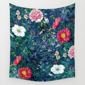 Spring Flowers Dark Wall Tapestry by RIZA PEKER