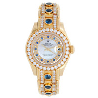 Rolex Lady's Yellow Gold Pearlmaster Mother Of Pearl Myriad Sapphire Wristwatch