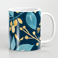 Teal and Golden Floral Coffee Mug by noondaydesign