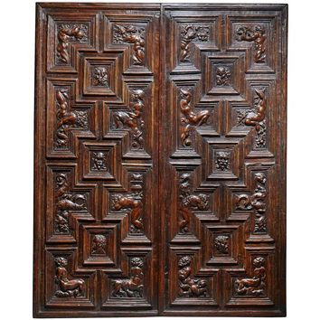 Impressive Pair of Carved Renaissance Door Panels, Italian, 16th Century