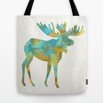 Colorful Moose Art Tote Bag by Christina Rollo | Society6