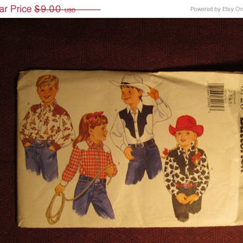 Sale Uncut 2000 Butterick Sewing pattern, 6728! 2-3-4-5 Toddlers/Kids/Child/Cowboy/Cowgirl Costumes/Collared Shirts/Mock Bands/Cuffs/yokes