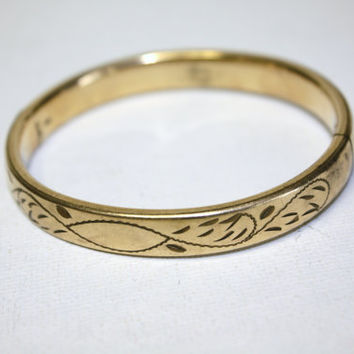 Antique Victorian Gold Filled Engraved Hinged Bangle by patwatty
