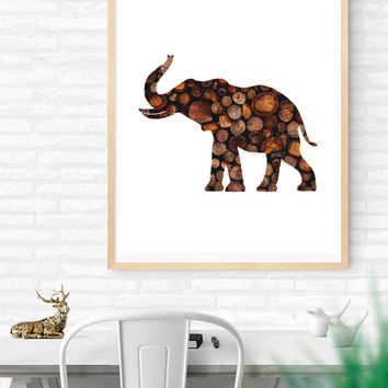 Elephant Printable wall art, Elephant Wood Art, Woodland Print, Nursery Wall Decor, Kids Room, Vintage Logs, Elephant wood Logs Silhouette