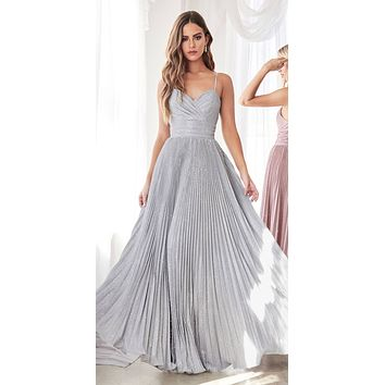 Long A-Line Pleated Dress Metallic Silver Glitter Finish Sweetheart Neckline