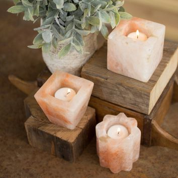 Himalayan Salt Tea Light Holders (Set of 3)