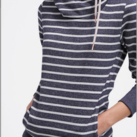 Gray and White Striped Long Sleeve Hooded Sweater