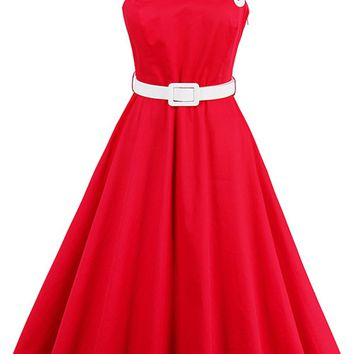 Atomic Red One Shoulder Swing Dress