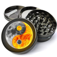 Yin Yang Sun And Moon Extra Large 4 Chamber Spice & Herb Grinder With Microfine Screen