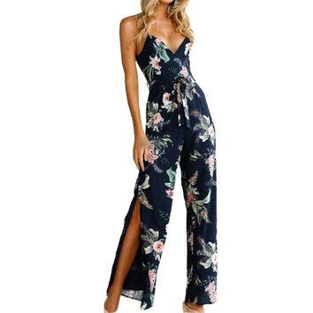 2018 Summer Jumpsuits Sexy Lady Floral Printed Sleeveless Backless Spaghetti Strap Sexy Jumpsuits Rompers Plus Size Femme GV526