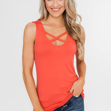 Places to Go Criss Cross Tank Top- Coral Orange